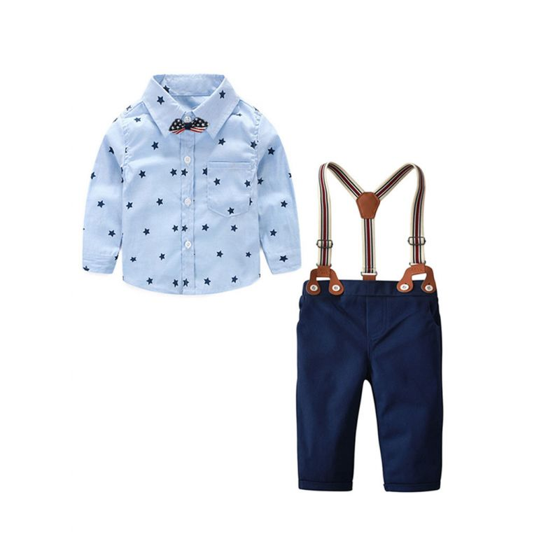 4-Piece Babywear Outfit Set Star Long Sleeve Button Down Shirt+Adjustable Shoulder Straps Chinos+Bow Tie