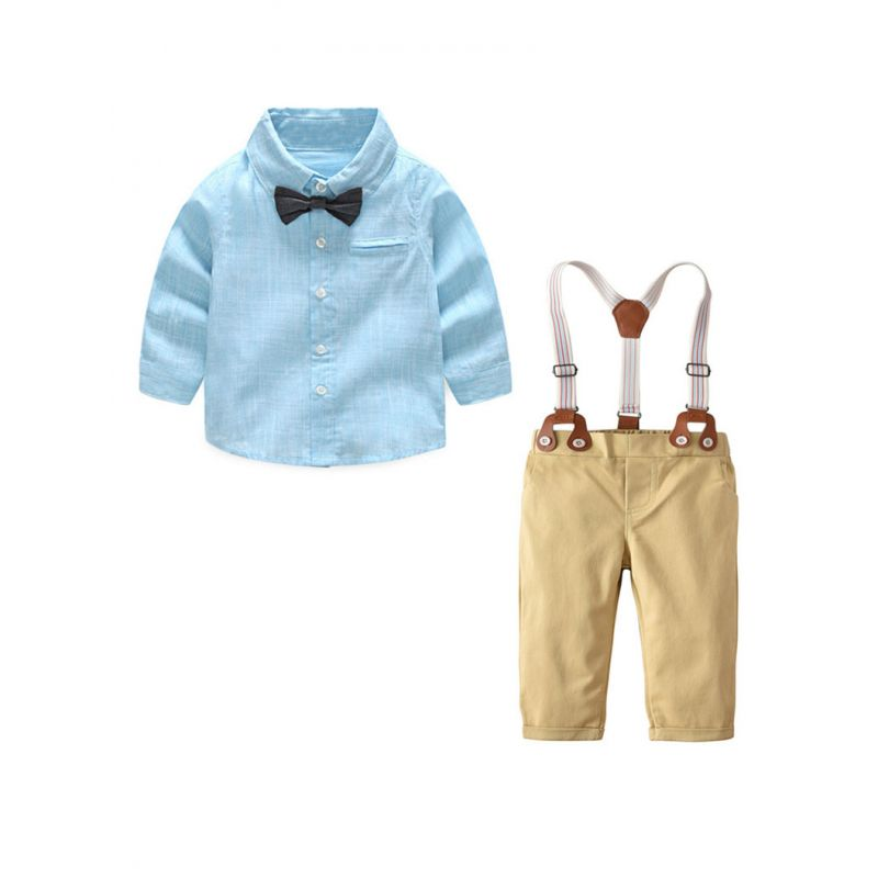 4-Piece Gentleman Baby Boys Shirt Chinos Outfit Set Long Sleeve Button Down Shirt+Adjustable Shoulder Straps Chinos+Bow Tie