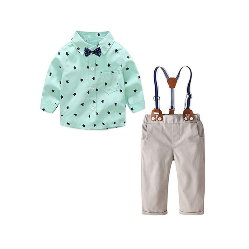 4-Piece Babywear Outfit Set Star Long Sleeve Button Down Shirt+Adjustable Shoulder Straps Overalls+Bow Tie