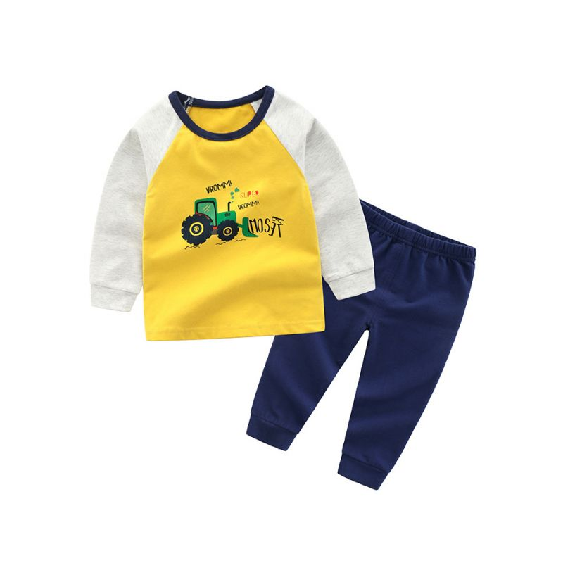 5SETS/PACK Toddler Big Kids Color-blocking Casual Sportswear Outfit Set Tractors Pullover Shirt Top+Blue Trousers