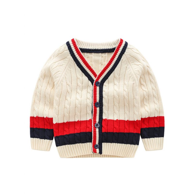 5PCS/PACK Classic Color-blocking Crochet Cardigan Toddler Boys Knit Coat