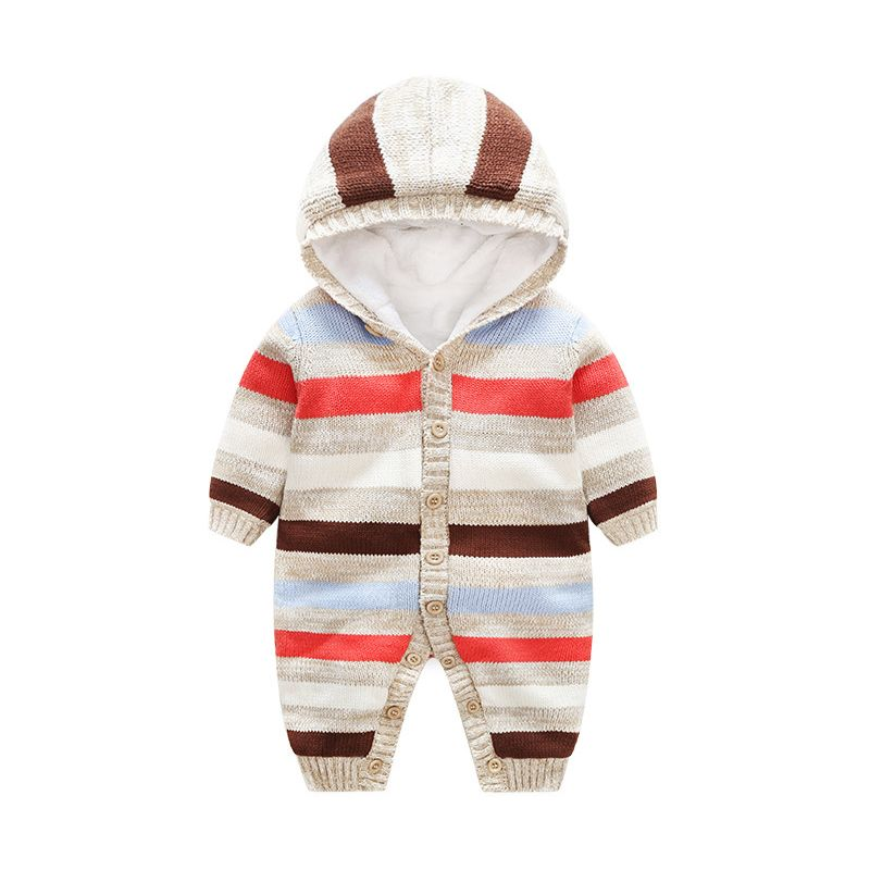 4PCS/PACK Winter Thick Fleece-lined Striped Hoodie Baby Romper Buttoned Jumpsuit Outwear