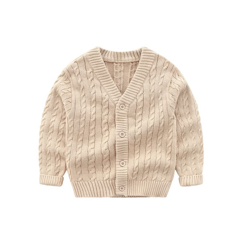 4PCS/PACK Classic British Style Solid Color Crochet Cardigan Toddler Boys Knitted Coat