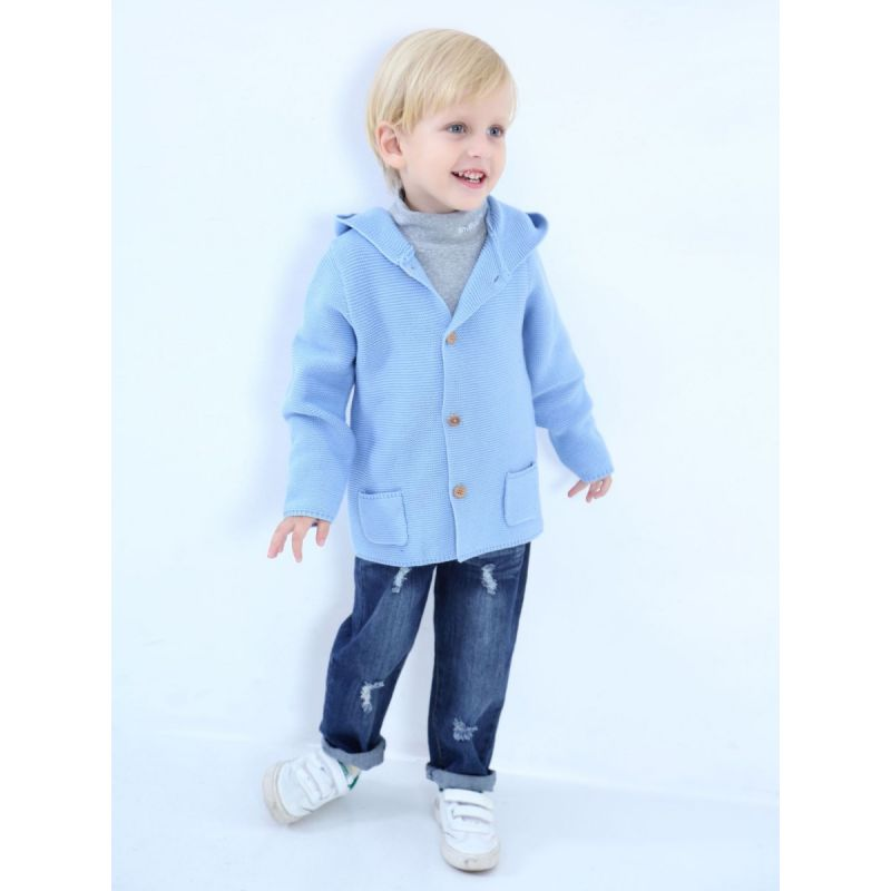 4PCS/PACK Fashion Solide Color Toddler Boys Girls Cotton Tassel Hoodie Cardigan with Hand Pocket