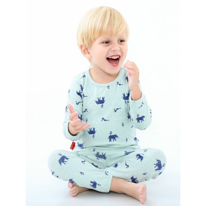 5SETS/PACK Toddler Big Children Cartoon Elephant Casual Homewear Pajama Set Long Sleeve Pullover Shirt+Long Trouser