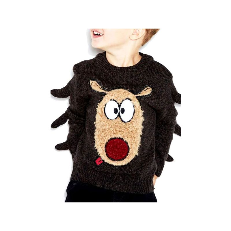 5PCS/PACK Adorable Cartoon Animal Style Knitted Sweater Crew Neck Toddler Big Kids Unisex Pullover Jumper for Winter