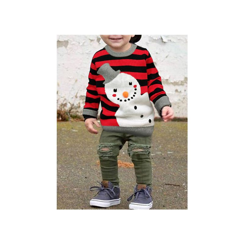 5PCS/PACK Snowman Striped Crochet Cotton Sweater Toddler Boys Girls Christmas Costume