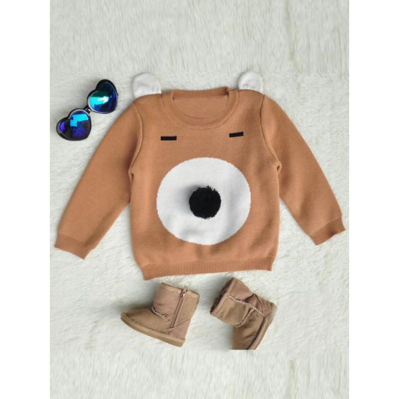 5PCS/PACK Cute Cartoon Animal Style Knitted Sweater Toddler Boys Girls Crochet Cotton Pullover