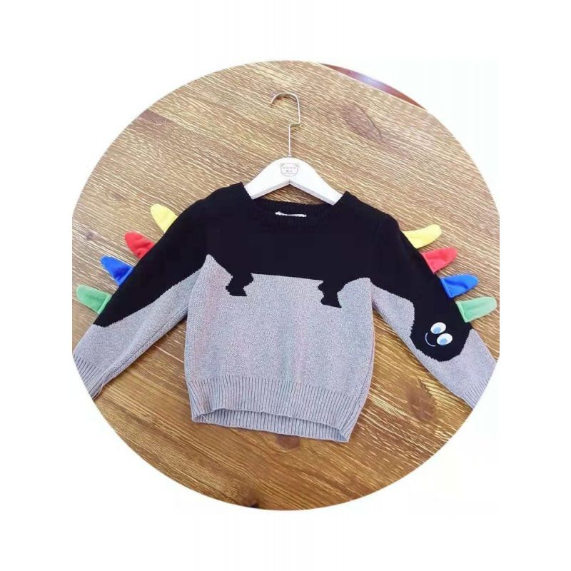 5PCS/PACK Stylish Cartoon Animal Pattern Crochet Cotton Sweater Boys Girls Winter Knit Pullover