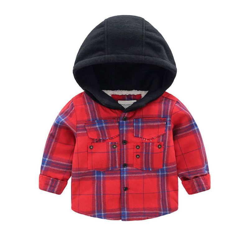 6PCS/PACK Toddler Big Boys Winter Thick Hoodie Checked Hoodie Fleece-lined Jacket Coat Outwear