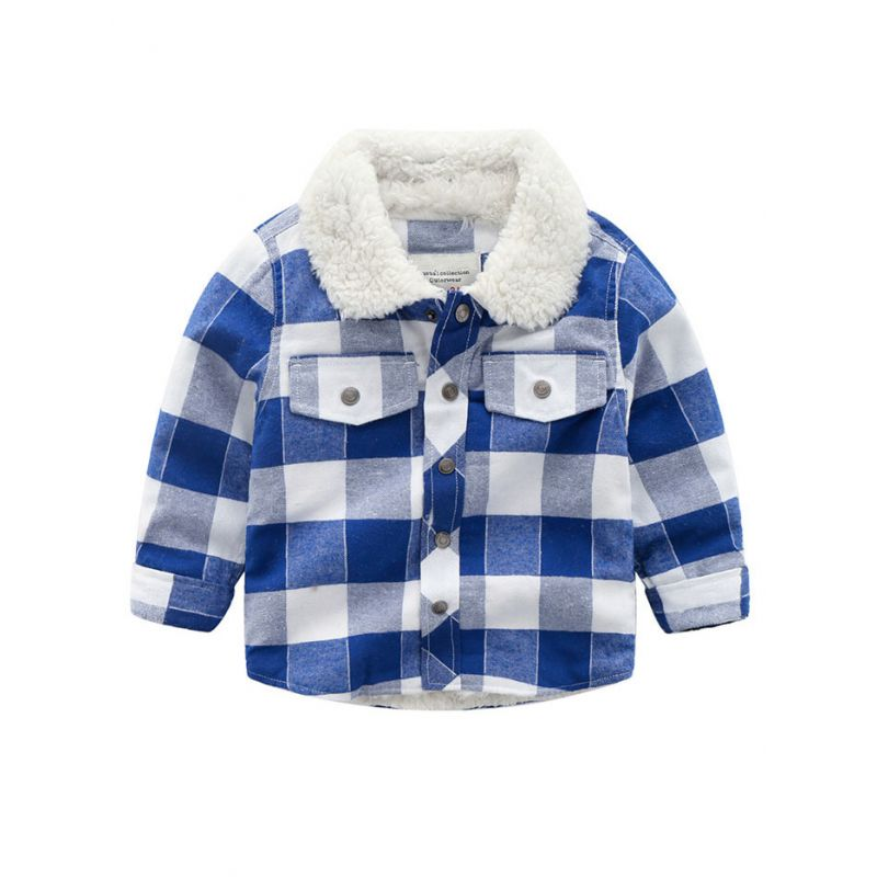 6PCS/PACK British Style Fleece-lined Plaid Thick Jacket Toddler Big Boys Winter Warm Coat Outwear