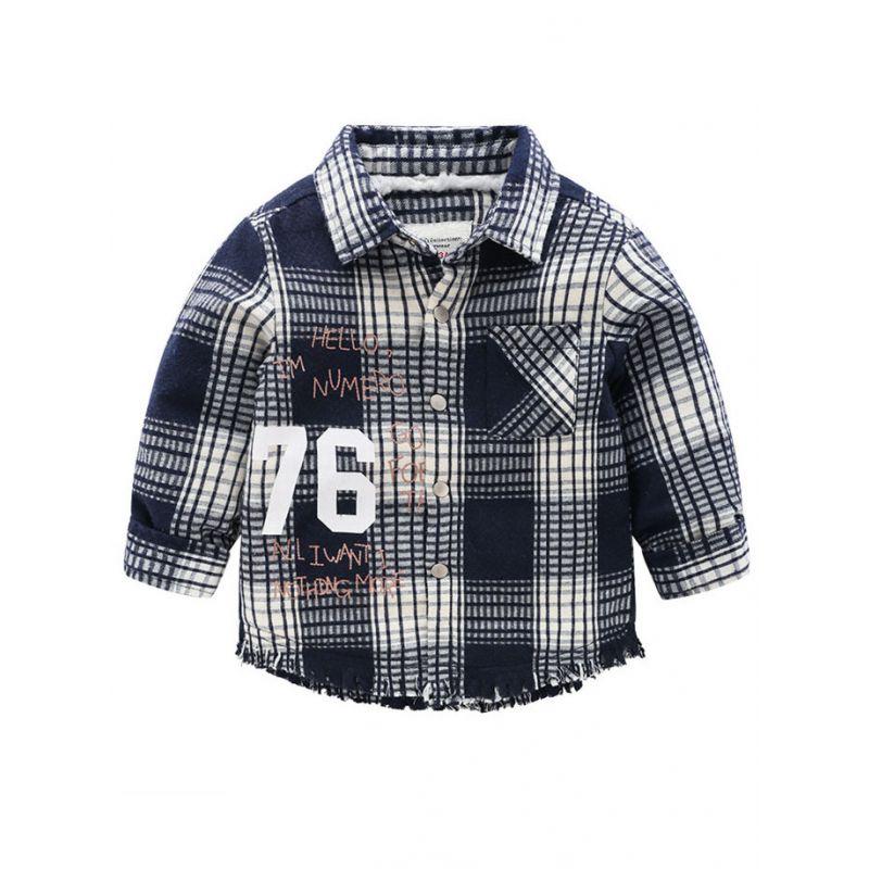 6PCS/PACK Boys Kids Tassel Trimmed Fleece-lined Checked 76 Jacket Children Winter Warm Coat