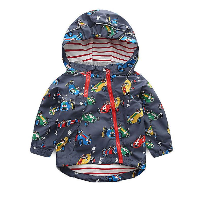 6PCS/PACK Toddler Big Boys Outdoor Light Windproof Car Print Jacket with Hoodie Jacket Sportswear