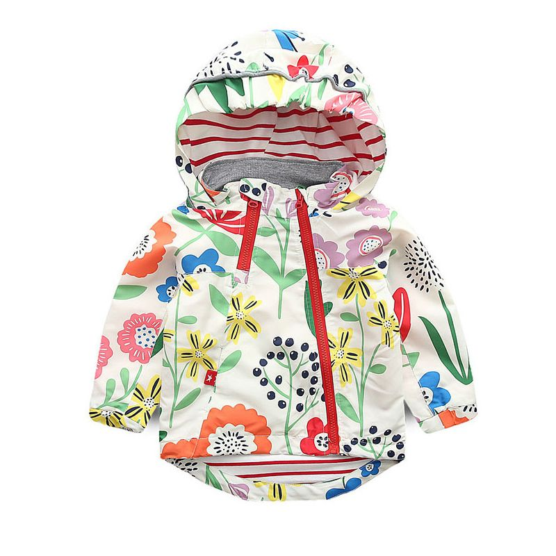 6PCS/PACK Fashion Spring Autumn Floral Jacket Wind Rain Jacket Girls Hooded Windproof Coat with Side Zipper