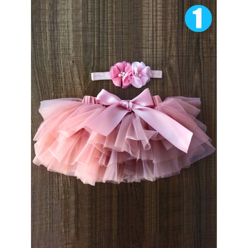 Solid Color Baby Girl Dancing Bow Romper Tutu Bouffant Pettiskirt with Flower Headband