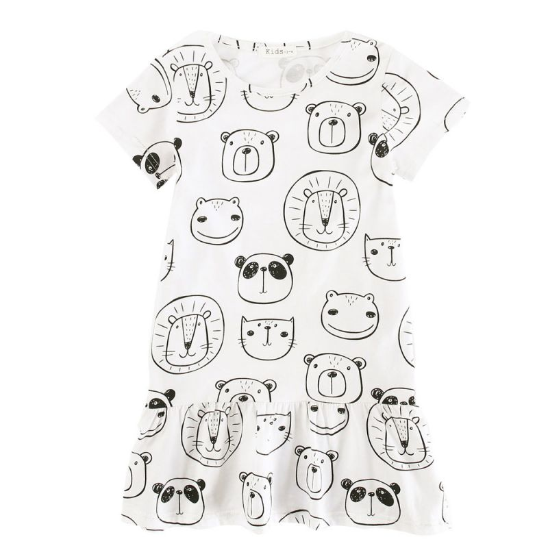 Toddler Big Girl Cartoon Animal Print Casual Summer Shift Dress Cotton One-Piece Dress