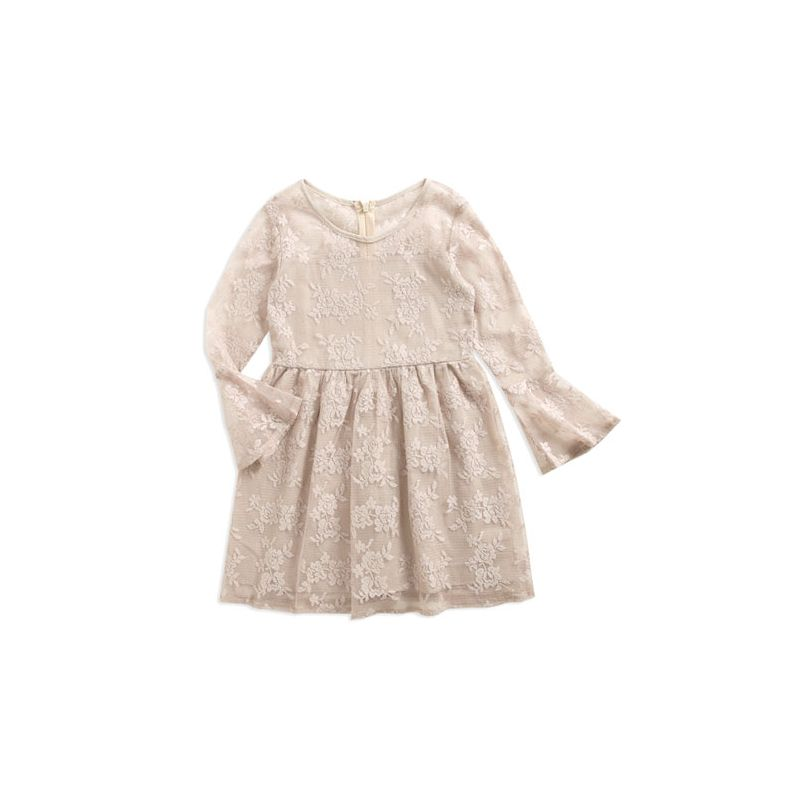 Stylish Trumpet Sleeve Floral Illusion Lace Princess Dress Toddler Big Girl Autumn Casual Dress
