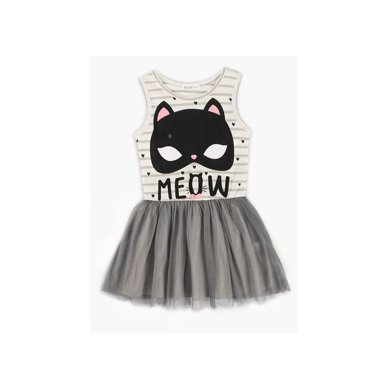 MEOW Cat Pattern Toddler Big Kids Striped Tulle Patchwork Sleeveless Dress for Summer