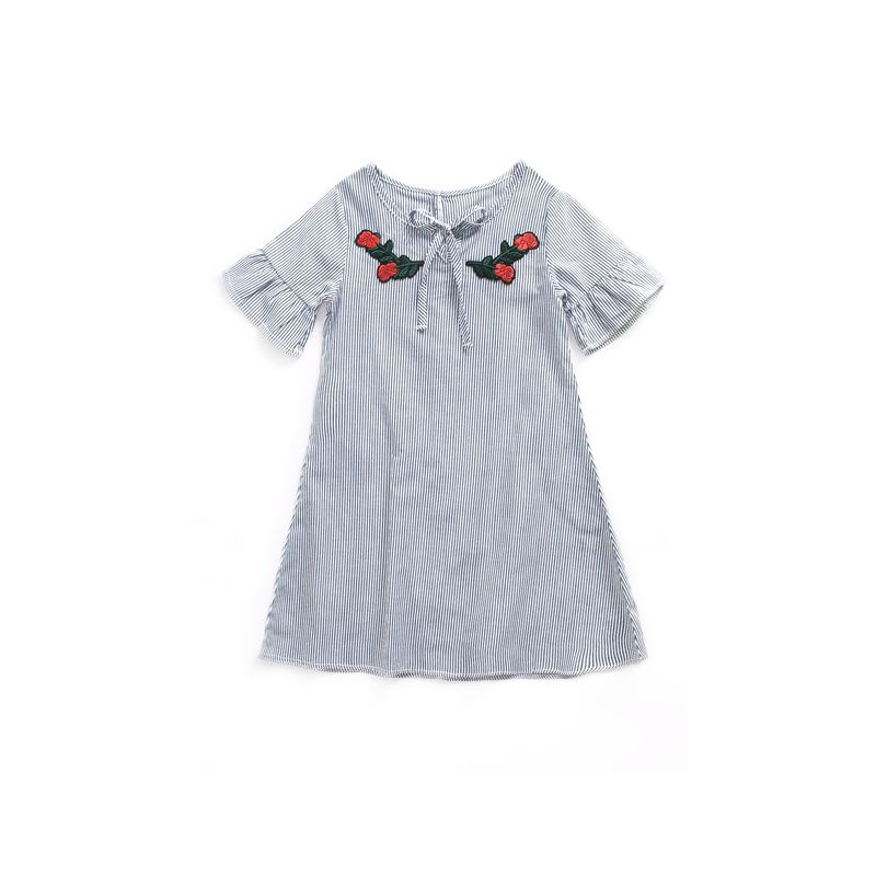 Toddler Big Girl Rose Embroidery Striped Summer Bow Dress with Ruffle-cuff
