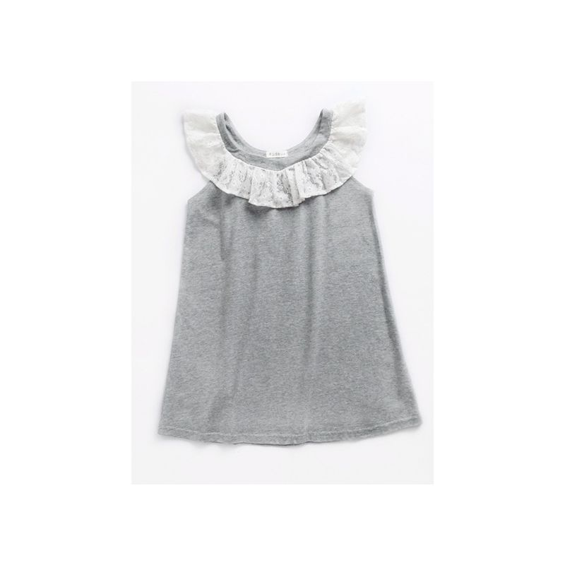 Lace Trimmed Collar Cotton Dress Toddler Big Girl Kids Summer Casual Dress