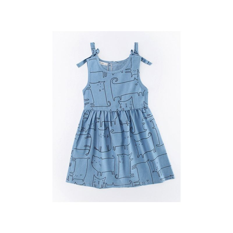 Cartoon Animal Denim Sundress Toddler Big Girl Casual Summer Sleeveless Dress