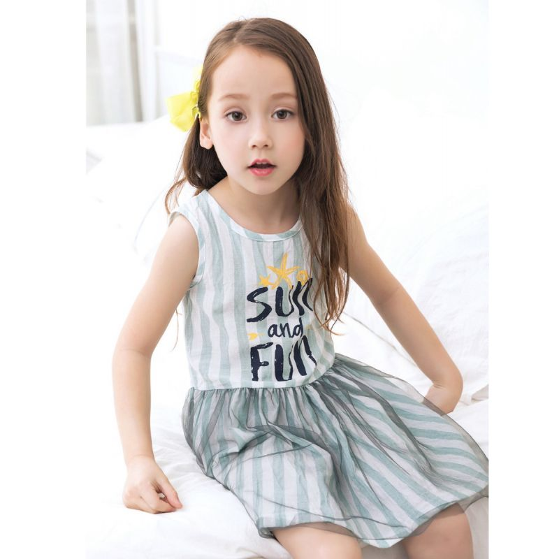 SUN and FUN Letters Print Striped Tulle Sleeveless Dress Toddler Big Girl Kids Pinafore Dress