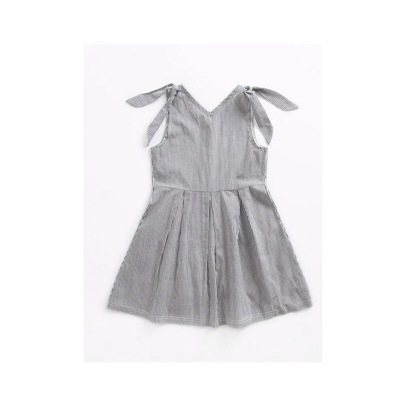 Bunny Ear Style Black & White Vertical Stripe Sundress Toddler Big Girl Summer Casual Sleeveless Dress
