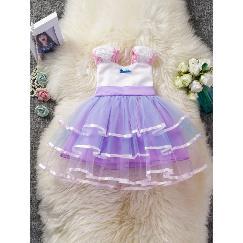 Patchwork Puff Sleeve Tulle Summer Full Dress Baby Toddler Girl Princess Party Dress