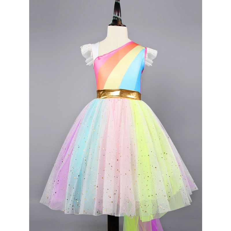 Stylish Flutter Sleeve Colorful Mesh Princess Dress Toddler Big Girl Summer Fit and Flare Party Dress