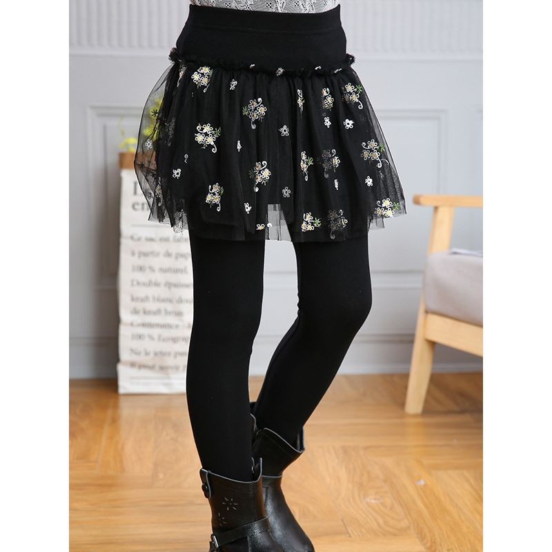 Floral Mesh Culottes Leggings Pants for Little Big Kids Tulle Legging Skirts Pantskirt