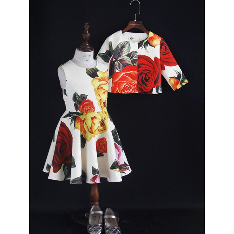 2-Piece Little Big Girl Floral Dress Outfit Set Flower Skater Dress+Half Sleeve Topper