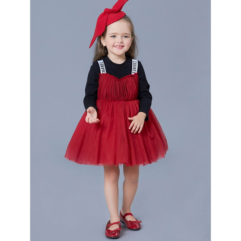 Little Big Girl Patchwork Tulle Princess Dress for Spring Autumn