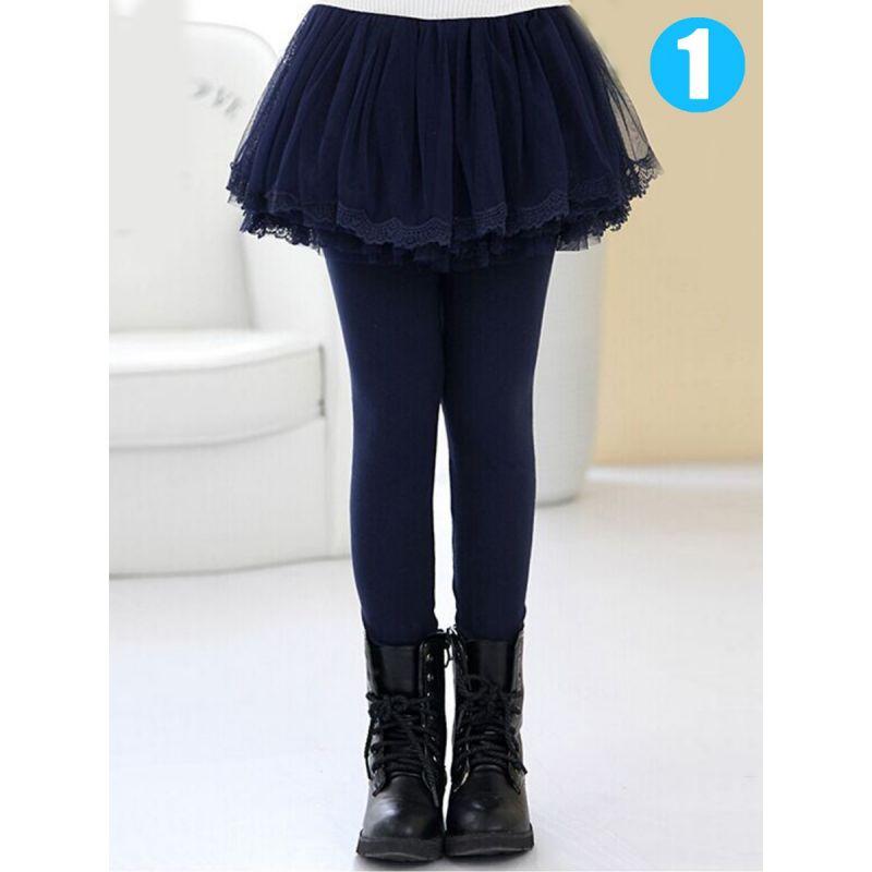 Winter Solid Color Fleece-lined Culottes Leggings Pants Little Big Girl Lace-Hem Tutu Legging Skirts Pantskirt