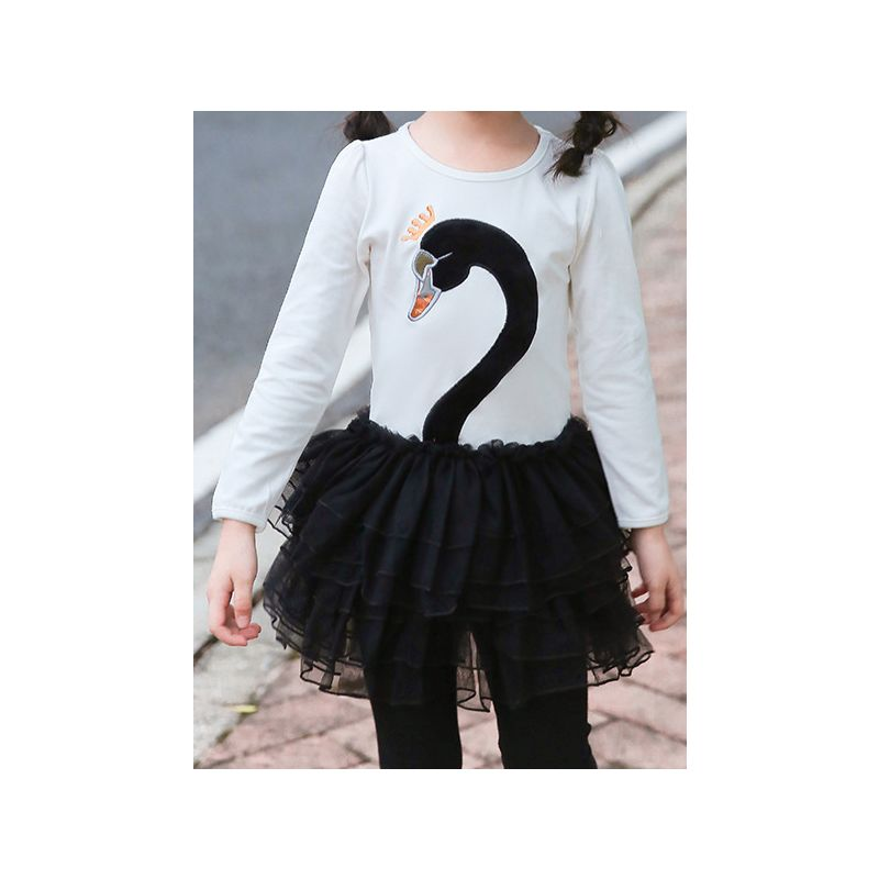 Fashion Swan Style Tulle Dress Little Big Girl Color Blocking Patchwork Dress