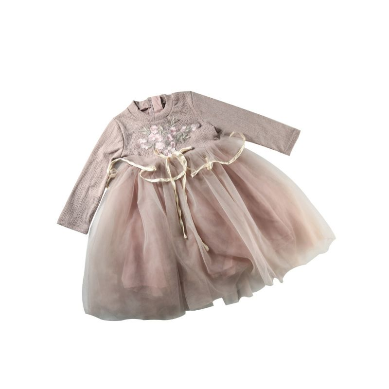 Spanish Style Floral Tulle Patchwork Princess Dress Little Big Girl Spring Autumn One-Piece Dress