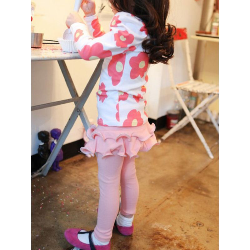 Solid Color Fleece-lined Ruffled Culottes Leggings Pants Toddler Big Girl Legging  Winter Skirts Pantskirt