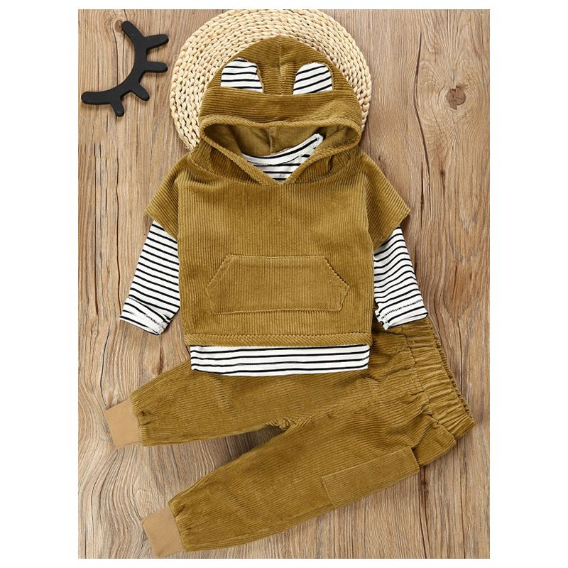 3-Piece Animal Ear Baby Little Boys Autumn Clothes Outfit Set Striped T-shirt+Corduroy Hoodie Short Sleeve+Corduroy Pants