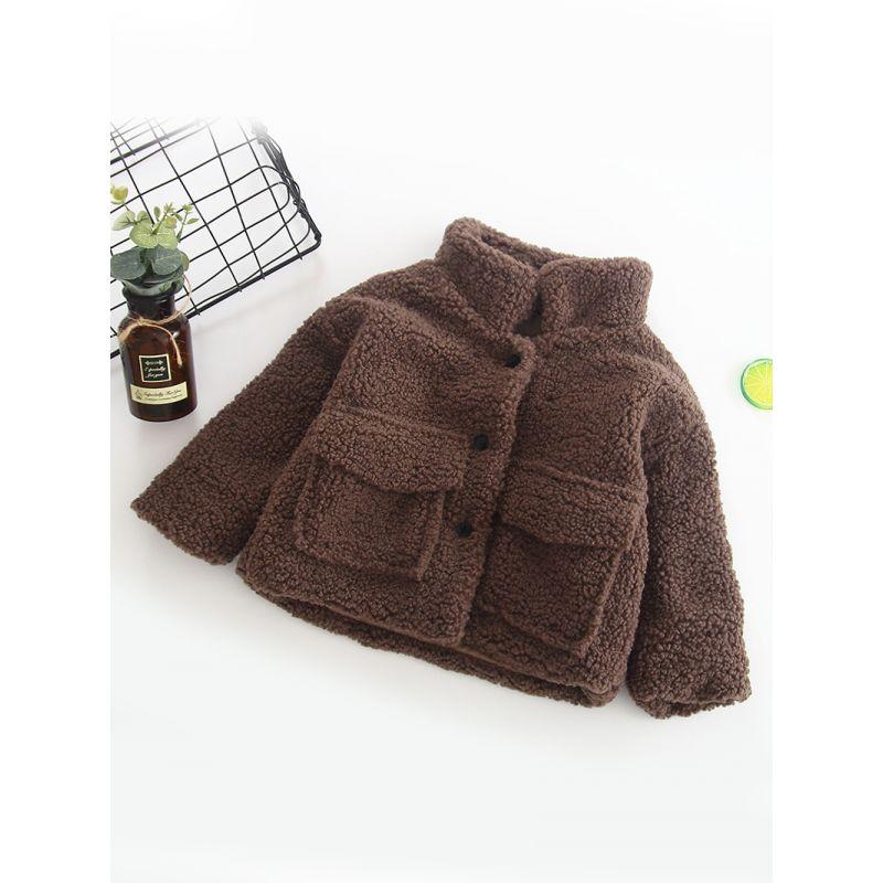 Solid Color Baby Little Girl Winter Warm Fleece Jacket Coat