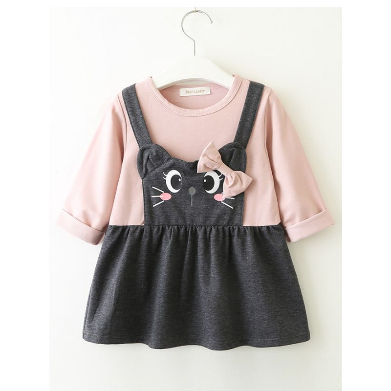 Cute Baby Girl Bow Cat One-Piece Dress Long Sleeve