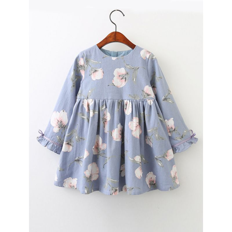 Little Big Girl Spring Autumn Floral Shift Dress with Ruffle-cuff