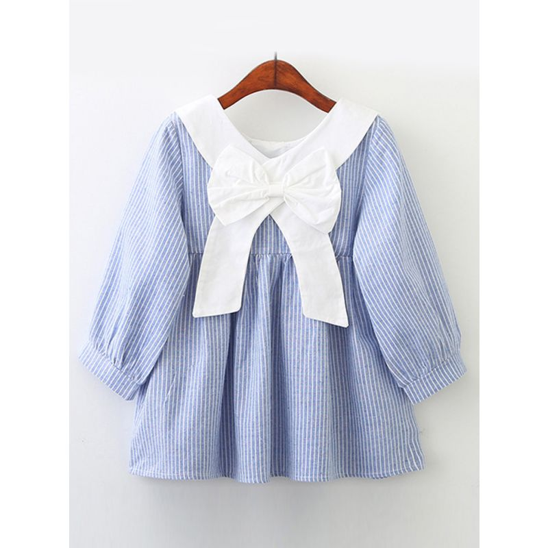 Little Big Girl Spring Autumn Big Bow Striped Shift Dress Long Sleeve