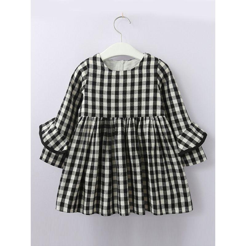 Little Big Girl Black& White Plaid Shift Dress Ruffle-Sleeve