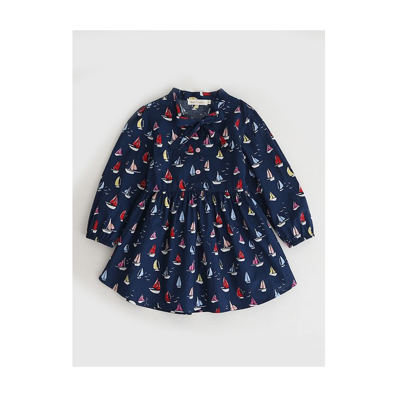 Sailboat Bow Shift Dress Toddler Big Girl Casual One-piece Dress for Spring Autumn