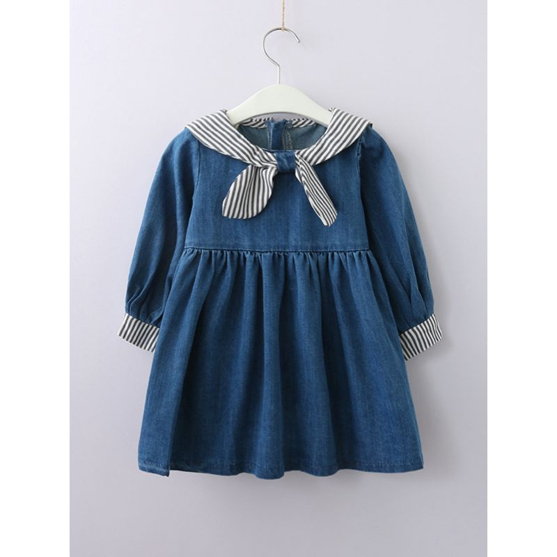 Classic Navy Style Striped Little Big Girl Shift Dress Spring Autumn Kids Casual Denim Dress