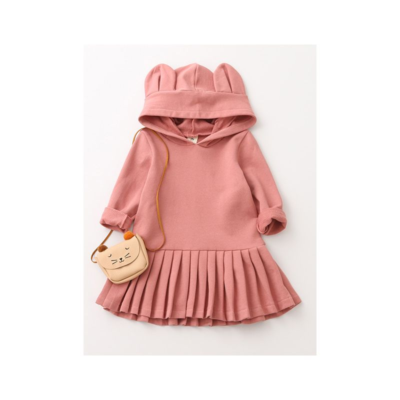 Loose Fitting Adorable Toddler Big Girl Bear Ear Hoodie Casual Ruffled Dress Children Solid Color Spring One-Piece Dress