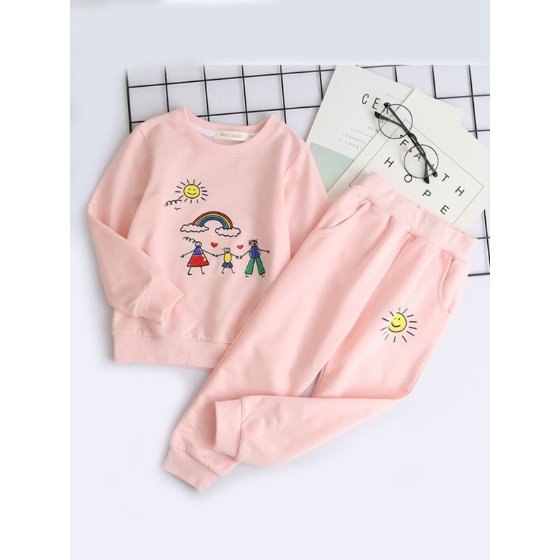 2-Piece Little Big Girl Sweat Suit Set Cartoon Rainbow Family Print Sweatshirt + Sweatpants