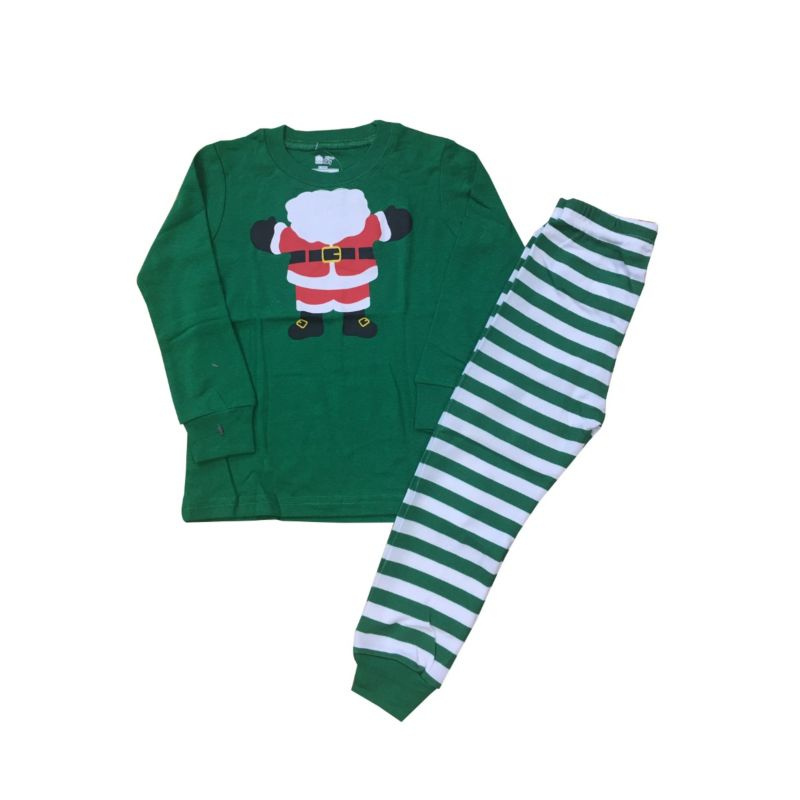 6 SETS/PACK Unisex Boys Girls Christmas Pyjamas Homewear Set Santa Pullover+Green Striped Long Pants