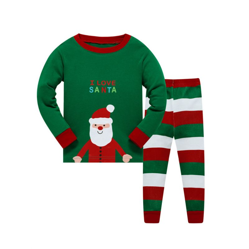6 SETS/PACK Unisex Kids Holiday Christmas Leisure Wear Nightwear Set I LOVE SANTA T-shirt Top+Color-blocking Striped Trousers