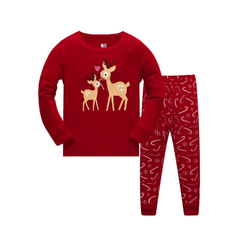 6 SETS/PACK Toddler Big Girl Christmas Red Homewear Loungewear Set Reindeer Pullover+Candy Cane Pants