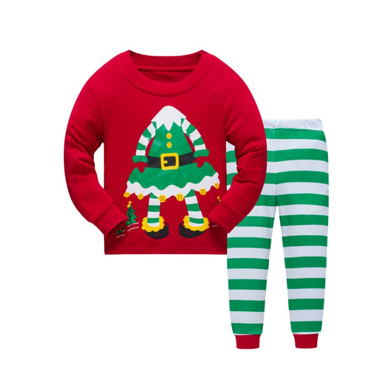 6 SETS/PACK kids Christmas Themed Pijama Sleepwear Set Christmas Dress Print Pullover+Green & White Striped Pants